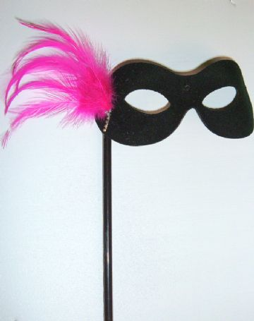 Cerise & black feather Stick Mask